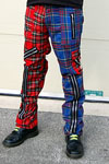 Original 15 Zip Bondage Pants (Wool Blend) by Tiger Of London- SPLIT LEG RED/BLUE PLAID