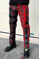 Original 15 Zip Bondage Pants (Wool Blend) by Tiger Of London- SPLIT LEG RED/MULTI PLAID