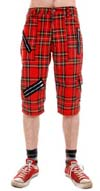 Red Tartan Plaid Cotton Blend Bondage Shorts by Tiger Of London