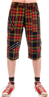 Multi Tartan Plaid Cotton Blend Bondage Shorts by Tiger Of London - red & blue   - sz 30 only
