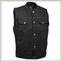 Black Denim Collarless Club Vest by Milwaukee Leather