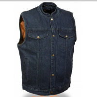 Blue Denim Collarless Club Vest by Milwaukee Leather