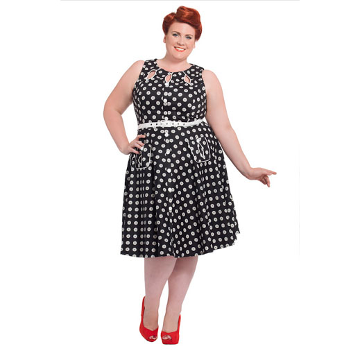 Plus Sized Retro Dahlia Dot Flare Dress with Cut Out Detail by VooDoo Vixen - SALE