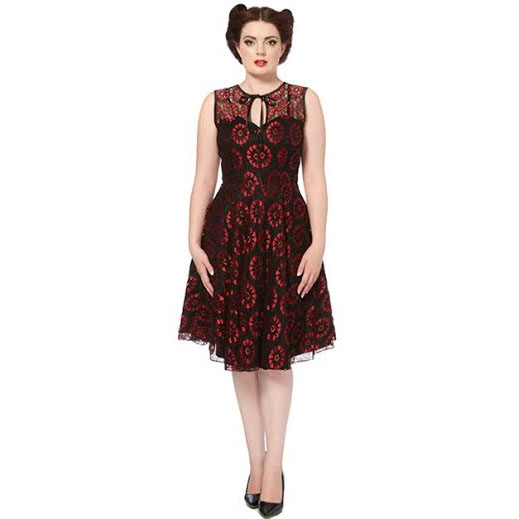 Crimson Lace Sleeveless Flair Dress by Voodoo Vixen - SALE sz L only