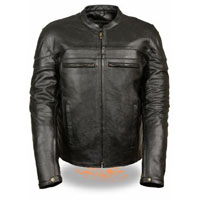 Black Leather Scooter Jacket by Event Leather