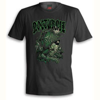 Nocturnal Zombie Rising from the Grave on a black shirt by Felon Clothing - SALE