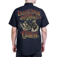Ladies Love Outlaws on a black short sleeve workshirt by Felon Clothing - SALE sz S only