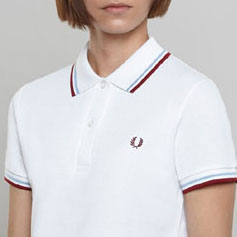 Fred Perry Twin Tipped Girls Polo Shirt- WHITE / MAROON (UK Made!) (Sale price!)