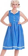 Karen Dress by Hell Bunny - in Blue Polka Dot - SALE sz XS & S only
