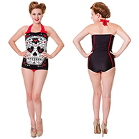 Sugar Skull Swimsuit in Black & Red by Banned Clothing - SALE sz XS only