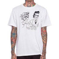Date With Death on a white guys slim fit shirt by Iron Fist - SALE sz S & 2X only