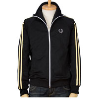 Fred Perry Twin Striped Track Jacket- BLACK/CHAMPAGNE (Sale price!)