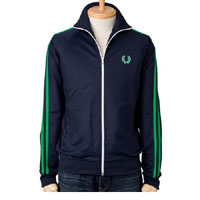 Fred Perry Twin Striped Track Jacket- CARBON BLUE/FERN GREEN (Sale price!)