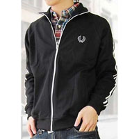 Fred Perry Twin Striped Track Jacket- BLACK/WHITE (Sale price!)