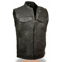 Black Leather Zip Up Club Vest by Milwaukee Leather