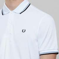 Fred Perry Classic Fit Twin Tipped Polo Shirt- WHITE / ICE / NAVY - SALE sz XS & 2X only