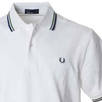 Fred Perry Classic Fit Twin Tipped Polo Shirt- SNOW WHITE / GREEN / NAVY (Sale price!) sz XS & XXL only