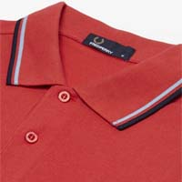 Fred Perry Classic Fit Twin Tipped Polo Shirt- VINTAGE RED / GLACIER / DARK CARBON (Sale price!)