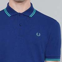 Fred Perry Classic Fit Twin Tipped Polo Shirt- MEDIEVAL BLUE / BAY LEAF (Sale price!)