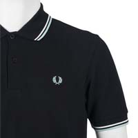 Fred Perry Classic Fit Twin Tipped Polo Shirt- NAVY / ECRU / PALE BLUE (Sale price!) sz XS only