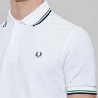 Fred Perry Classic Fit Twin Tipped Polo Shirt- WHITE / ISLAND GREEN / DARK CARBON (Sale price!)