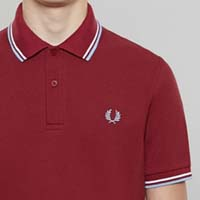 Fred Perry Laurel Collection Twin Tipped Polo Shirt- MAROON /WHITE / ICE (Made In England!)