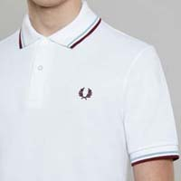 Fred Perry Laurel Collection Twin Tipped Polo Shirt- WHITE / ICE / MAROON (Made In England!)
