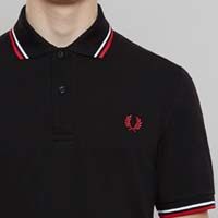 Fred Perry Laurel Collection Twin Tipped Polo Shirt- BLACK / WHITE / BRIGHT RED (Made In England!)