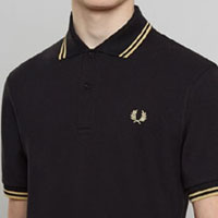 Fred Perry Laurel Collection Twin Tipped Polo Shirt- BLACK / CHAMPAGNE (Made In England!)