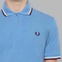 Fred Perry Laurel Collection Twin Tipped Polo Shirt- MID BLUE (Made In England!)