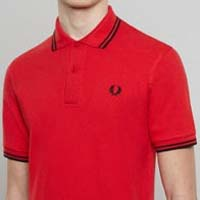 Fred Perry Laurel Collection Twin Tipped Polo Shirt- RED / BLACK (Made In England!)