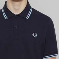 Fred Perry Laurel Collection Twin Tipped Polo Shirt- NAVY / ICE / ICE (Made In England!) (Sale price!)