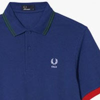 Fred Perry 2014 World Cup Polo Shirt- ITALY (Cobalt Blue) - sz Med only