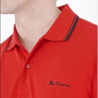 Romford Polo (Script Logo) by Ben Sherman- NEW TARGET RED (Black Piping) (Sale price!)