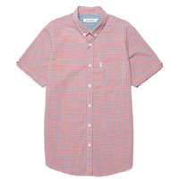 Mod Check Short Sleeve Button Up by Ben Sherman- DAWN RED (Sale price!) sz S only