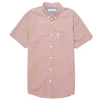 Mod Check Short Sleeve Button Up by Ben Sherman- DEEP CORAL (Sale price!) sz S & L only