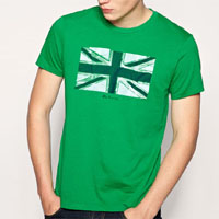 Union Jack On A Slim Fit Guys Shirt by Ben Sherman- ABSINTHE GREEN (Sale price!)