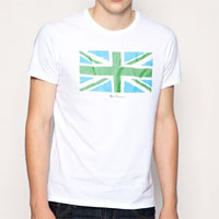 Union Jack On A Slim Fit Guys Shirt by Ben Sherman- WHITE (Sale price!)