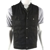 Black Denim Zip Up Club Vest With Zipper And Snaps by Milwaukee Leather