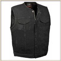 Black Denim Zip Up Collarless Club Vest by Milwaukee Leather