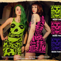 Misfits- Skulls Dress by Drastic Plastic Clothing - SALE Pink Only sz XL & 2X