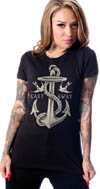 Castaway Anchor & Sparrow V-neck shirt by Steady - SALE sz S only
