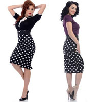 Catch Me If You Can Polka Dot Black Pencil Skirt By Steady - SALE sz S & L only
