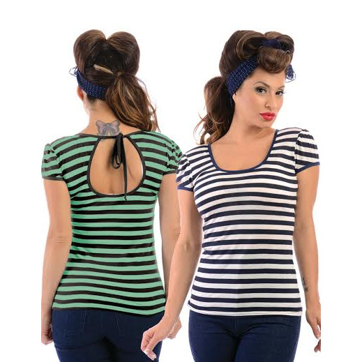 Mindy Striped Top by Steady - in 2 color choices- Navy - SALE sz 1x only