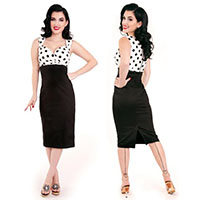 Lucy Black & White Polka Dot Wiggle Dress By Steady Clothing - SALE sz L & 2X only