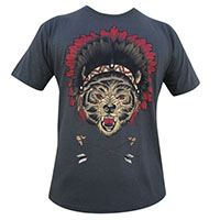 Sacred Wolf in Headdress by Black Market Art Company - SALE sz S & XL only