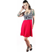 Navy & White Striped Betty Tie Dress by Switchblade Stiletto - SALE sz XL & 2X only