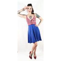 Red & White Striped Betty Tie Dress by Switchblade Stiletto - SALE