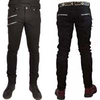 Zipper Biker Skinny Jeans in BLACK by Tripp NYC