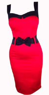 Darling Doll Bow Dress by Switchblade Stiletto - Solid Red with Black Bow - SALE